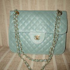 Geanta dama verde bleu eleganta Chanel+Cadou, Culoare: Din imagine, Marime: Medie, Geanta de umar, Asemanator piele