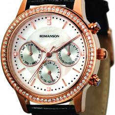 Ceas Romanson dama cod RL0382T LR-WH - pret 589 lei; NOU; ORIGINAL - Ceas dama Romanson, Elegant, Quartz, Inox, Piele, Ziua si data