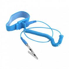 Bratara antistatica ajustabila cu impamantare culoare albastra anti statica - Echipament lucru