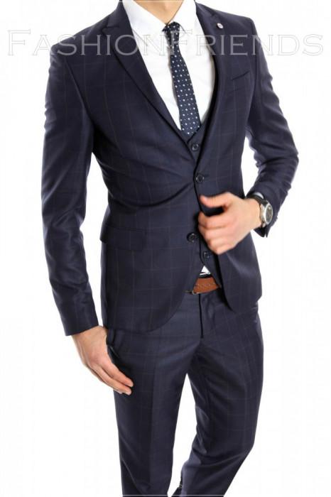 Costum tip ZARA - sacou + pantaloni - vesta costum barbati casual office  - 6150 foto mare