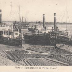 GALATI, PLUTE SI REMORCHERE IN PORTUL GALATI, CIRCULATA MAR. ''91 - Carte Postala Moldova 1904-1918, Tip: Printata