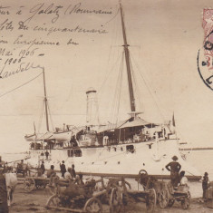 GALATI, IN PORT, TCV, CLASICA, CIRCULATA 1906 - Carte Postala Moldova pana la 1904, Printata