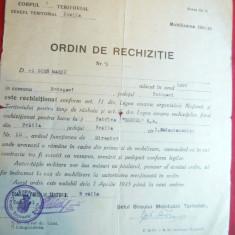 Ordin Rechizitie Personala 1945 - Al II-lea Razboi Mondial - Hartie cu Antet