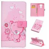 Husa LG V10 G4 PRO portofel carte flip cover roz cu ursulet flori NOU 2016 - Husa Telefon LG, Piele Ecologica