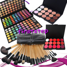 Trusa machiaj MAC farduri 180 culori + 24 pensule make up + fond de ten + ruj - Trusa make up