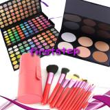 Trusa machiaj farduri MAC 180 culori + 12 pensule make up par natural + pudra, Mac Cosmetics