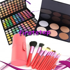 Trusa machiaj Mac Cosmetics farduri MAC 180 culori + 12 pensule make up par natural + pudra