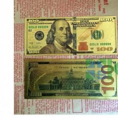 Sua/USA noua bancnota de 100$, placata cu aur 24k - color - bancnota america, An: 2015