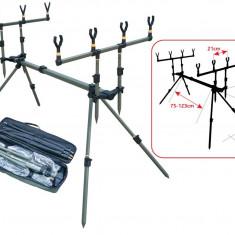 Rod Pod Baracuda 4 Pentru 4 Lansete Picioare Ajustabile + Geanta Transport, 4 posturi