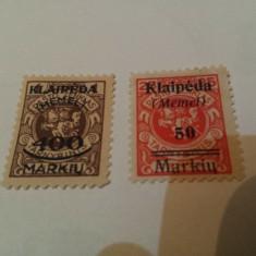 Germania/memel 1923 blazoane / 2v. nestampilate / 13 euro