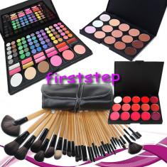 Trusa machiaj Mac Cosmetics MAC farduri 78 culori + 24 pensule make up + fond de ten + ruj