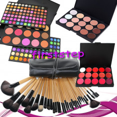 Trusa machiaj MAC farduri 183 culori + 24 pensule make up + fond de ten + ruj - Trusa make up