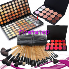 Trusa machiaj MAC farduri 120 culori + 24 pensule make up + fond de ten + ruj - Trusa make up