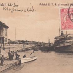 GALATI , PALATUL N.T.R. SI VAPORUL GALATI - BRAILA , CIRCULATA MAI 1927, Printata