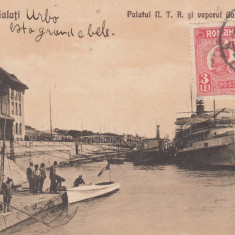 GALATI, PALATUL N.T.R. SI VAPORUL GALATI - BRAILA, CIRCULATA MAI 1927 - Carte Postala Moldova dupa 1918, Printata
