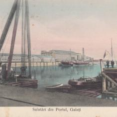 GALATI, SALUTARI DIN PORTUL, GALATI, CIRCULATA APR.'' 908 - Carte Postala Moldova 1904-1918, Tip: Printata