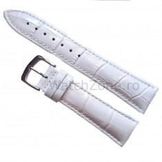 Curea de ceas Piele Alba imprimeu Crocodil Curea ceas 20mm - Curea ceas piele