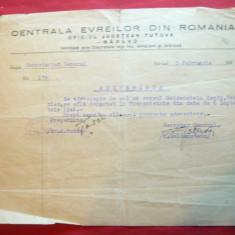 Hartie cu Antet Centrala Evreilor din Romania -Oficiul Judetean Tutova 1942
