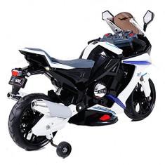 SUPER MOTOCICLETA ELECTRICA PT.COPIII, GT01 CU ACUMULATORI 12V, ROTI AJUTATOARE. - Masinuta electrica copii 2M Beauty, Unisex, Bleu