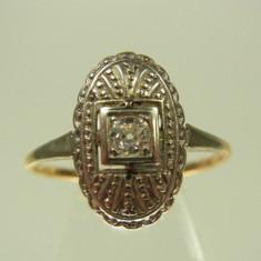 Inel Art Deco Aur 18k Montura Platina Si Diamant - Inel diamant, Culoare: Galben