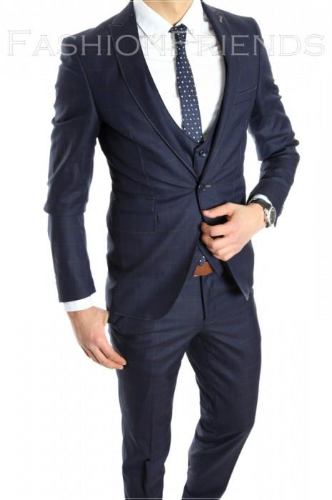 Costum tip ZARA - sacou + pantaloni - vesta costum barbati casual office  - 6152 foto mare