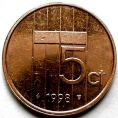 OLANDA / BEATRIX, 5 CENTS 1998, MONETARIA UTRECHT, Europa, Cupru (arama)