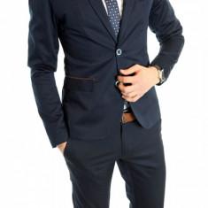 Sacou tip Zara Man bleumarin casual - sacou barbati - sacou bumbac cod 6154, Marime: S, L, XL, Culoare: Din imagine