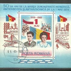 Romania 1989 - ELENA SI NICOLAE CEAUSESCU,  colita stampilata, N14