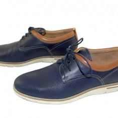 Pantofi barbati casual piele naturala Denis-2823 bl, Marime: 40, 41, 42, 43, 44, 45, Culoare: Albastru, Albastru
