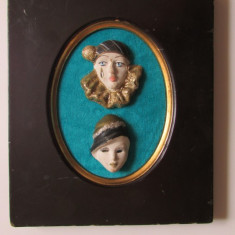 MASTI VENETIENE-APLICA-ceramica, pictate, rama lemn, vintage - Arta Ceramica
