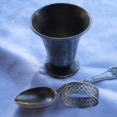 Set botez Vechi Pahar Lingurita si Inel servet marcate 1950 patina minunata