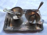 Set 2 Recipiente sosuri zahar condimente cu Lingurita si Cleste pe o Tavita