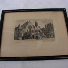Gravura veche infatisand Marktplaz Rathaus din loc. HILDESHEIM - Litografie