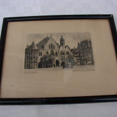 Gravura veche infatisand Marktplaz Rathaus din loc. HILDESHEIM