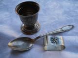 Set botez Vechi Pahar Lingurita si Inel servet blazon regal patina minunata, Cana