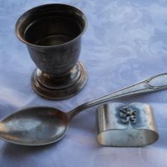 Set botez Vechi Pahar Lingurita si Inel servet blazon regal patina minunata - Argint, Cana