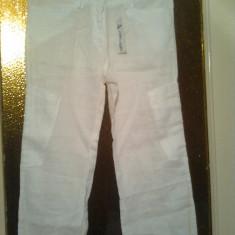 PANTALONI DE DAMA DIN IN - Pantaloni dama, Marime: Alta, Culoare: Alb, Lungi