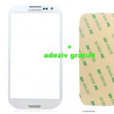 Ecran Geam Sticla Samsung Galaxy S3 negru + adeziv gratuit - Geam carcasa