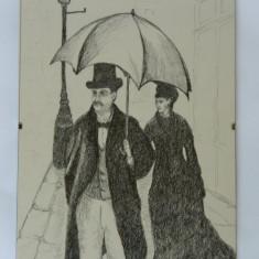 CREION - Domnul cu umbrela - tablou rama cu sticla protectoare - Tablou autor neidentificat, Portrete, Carbune, Realism