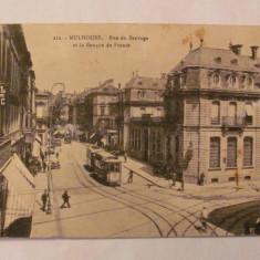 "CY - Ilustrata MULHOUSE ""Bulevardul Sauvage & Banca Frantei"" 1930 circulata"