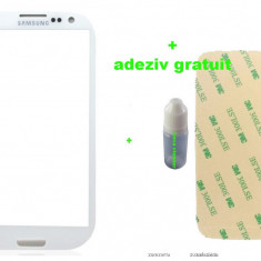 Ecran Geam Sticla Samsung Galaxy S3 negru + loca cleaner + adeziv - Geam carcasa