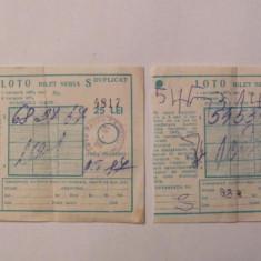 GE - Lot 2 bilete LOTO 1987 - Bilet Loterie Numismatica