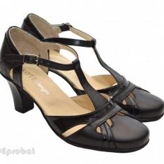 Pantofi dama piele naturala negri cu bareta cod P12 - Made in Romania - Pantof dama, Culoare: Negru, Marime: 35, 36, 37, 38, 39, 40, Cu talpa joasa