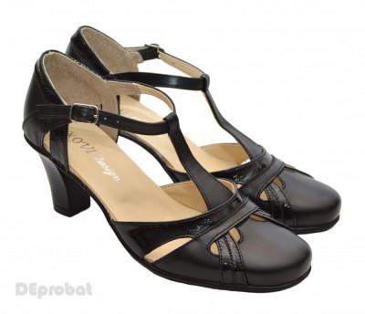 Pantofi dama piele naturala negri cu bareta cod P12 - Made in Romania foto