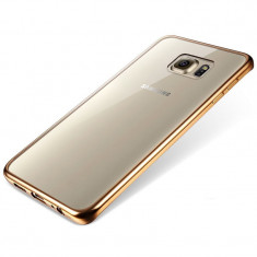 Husa Samsung Galaxy S7 Edge TPU Margine Gold - Husa Telefon Samsung, Transparent, Gel TPU, Fara snur, Carcasa