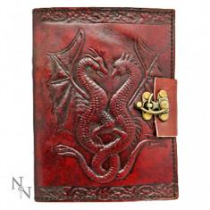 Agendă / Jurnal cu coperți piele și încuietoare Dragoni în zbor