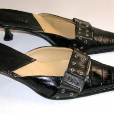Papuci dama marca Dior interior exterior si talpa piele marimea 37 (P539_1)