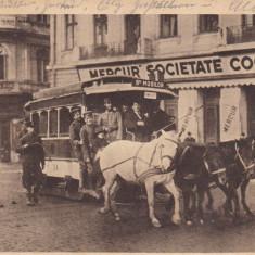 BUCURESTI, MILITARA, TRAMVAI CU CAI, CIRCULATA AUGUST 1918 - Carte Postala Muntenia dupa 1918, Printata