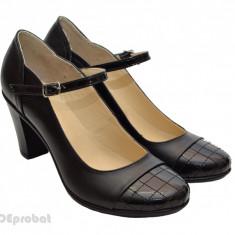 Pantofi dama piele naturala negri cod P13 - Made in Romania - Pantof dama, Culoare: Negru, Marime: 36, 37, 38, 39, 40, Cu toc