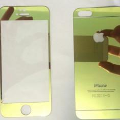 Folie Color Sticla protectie Fata Spate iPhone 5 5S Gold Rose / Albastru 3D - Folie de protectie Apple